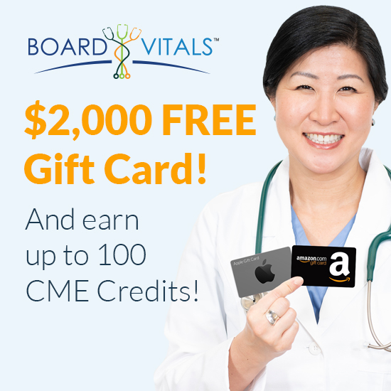 Physician with free CME gift cards